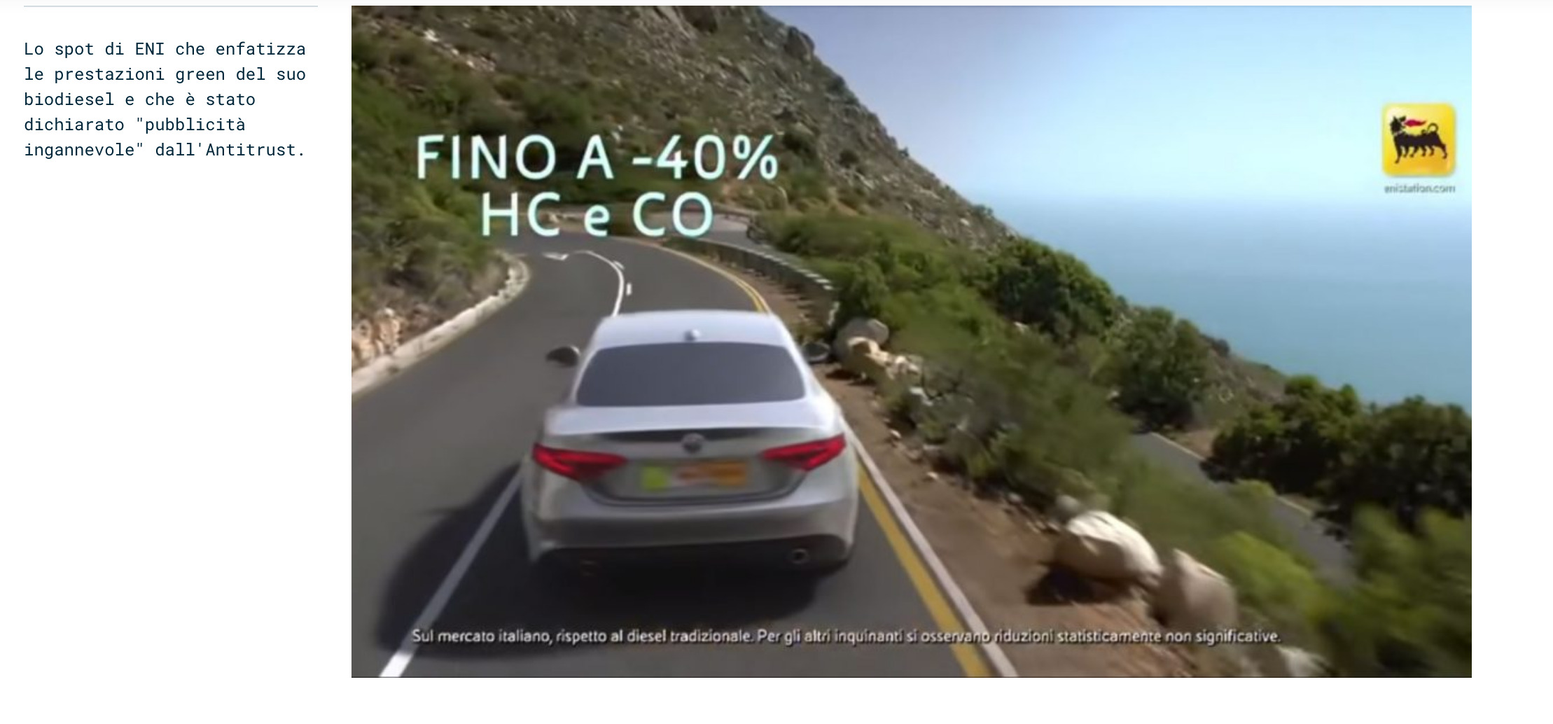 Screenshot_2020-05-02 Pubblicità ingannevole Il green diesel fa male a clima e ambiente Antitrust multa ENI per 5 milioni d[...]